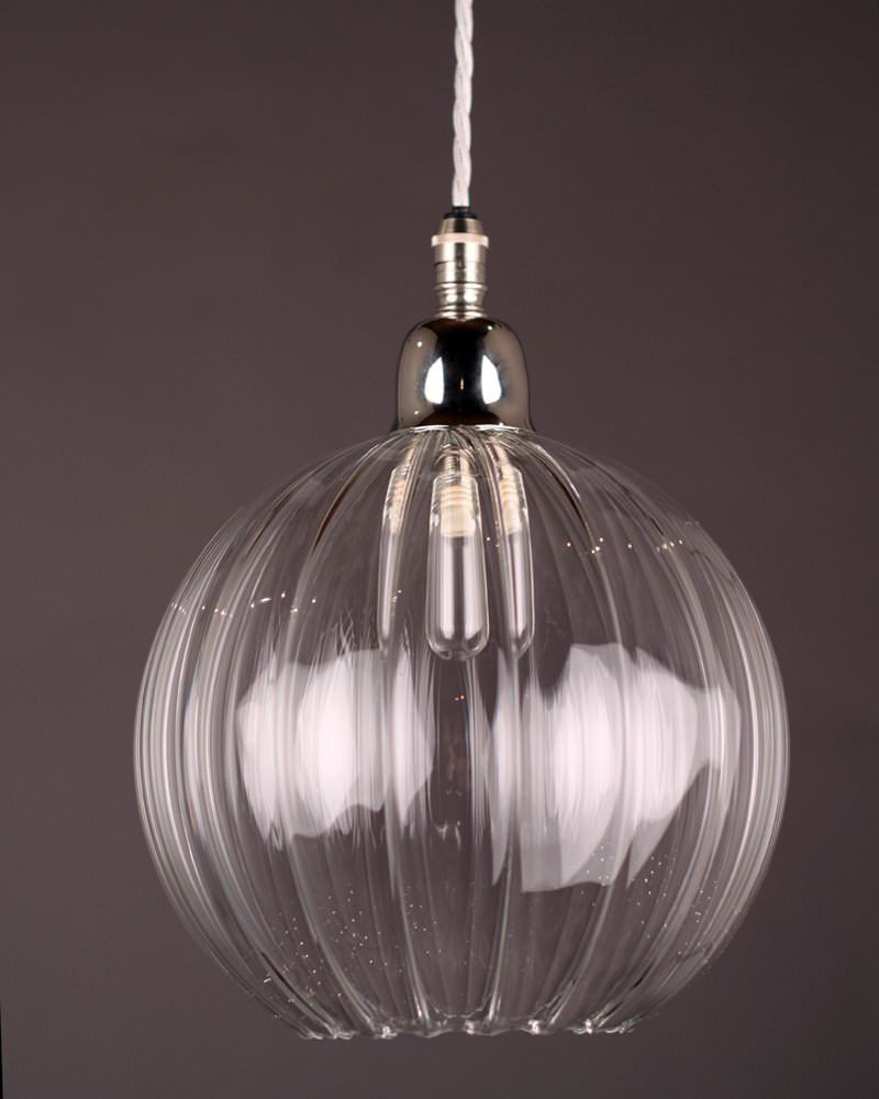 Hereford Ribbed Glass Globe Bathroom Pendant Light
