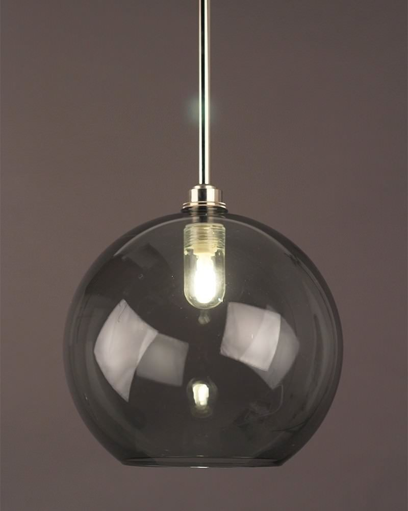Hereford Smoked Glass Globe Bathroom Ceiling Light Fritz