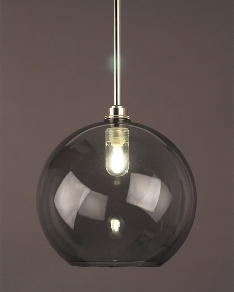 Hereford Smoked Glass Globe Bathroom Ceiling Light Fritz