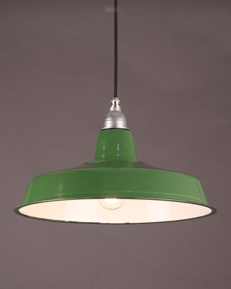 Industrial Green Enamel Pendant Ceiling Light, Retro