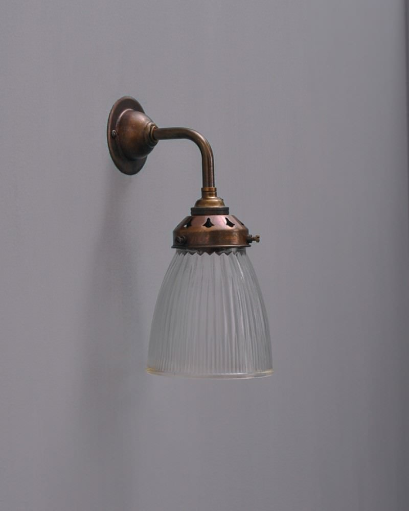 Industrial Lighting Wall Lights : Industrial Wall Light with Peterstow prismatic glass shade Fritz Fryer