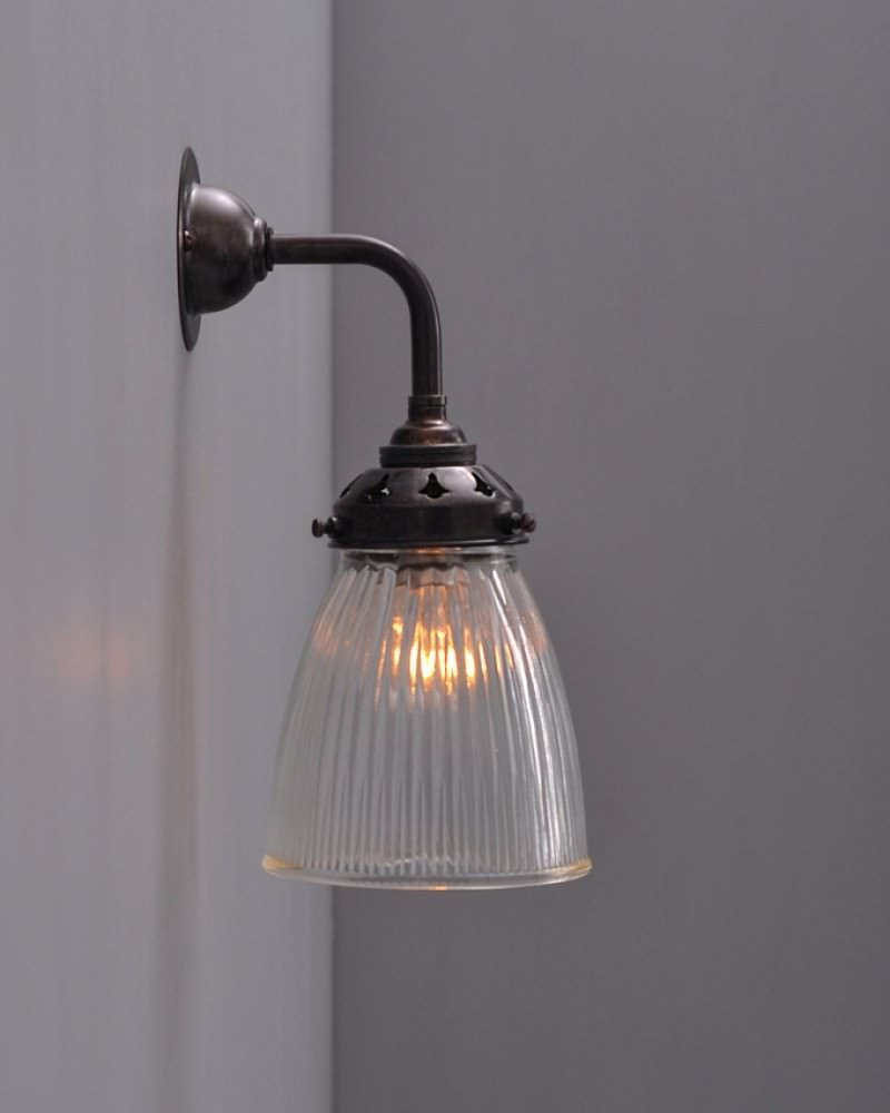 Industrial Wall Light with Peterstow prismatic glass shade ...