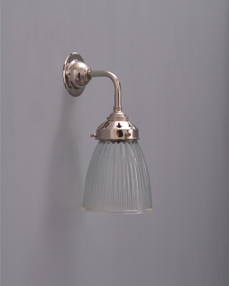 Industrial Wall Light Shades: Industrial Wall Light With Peterstow Prismatic Glass Shade