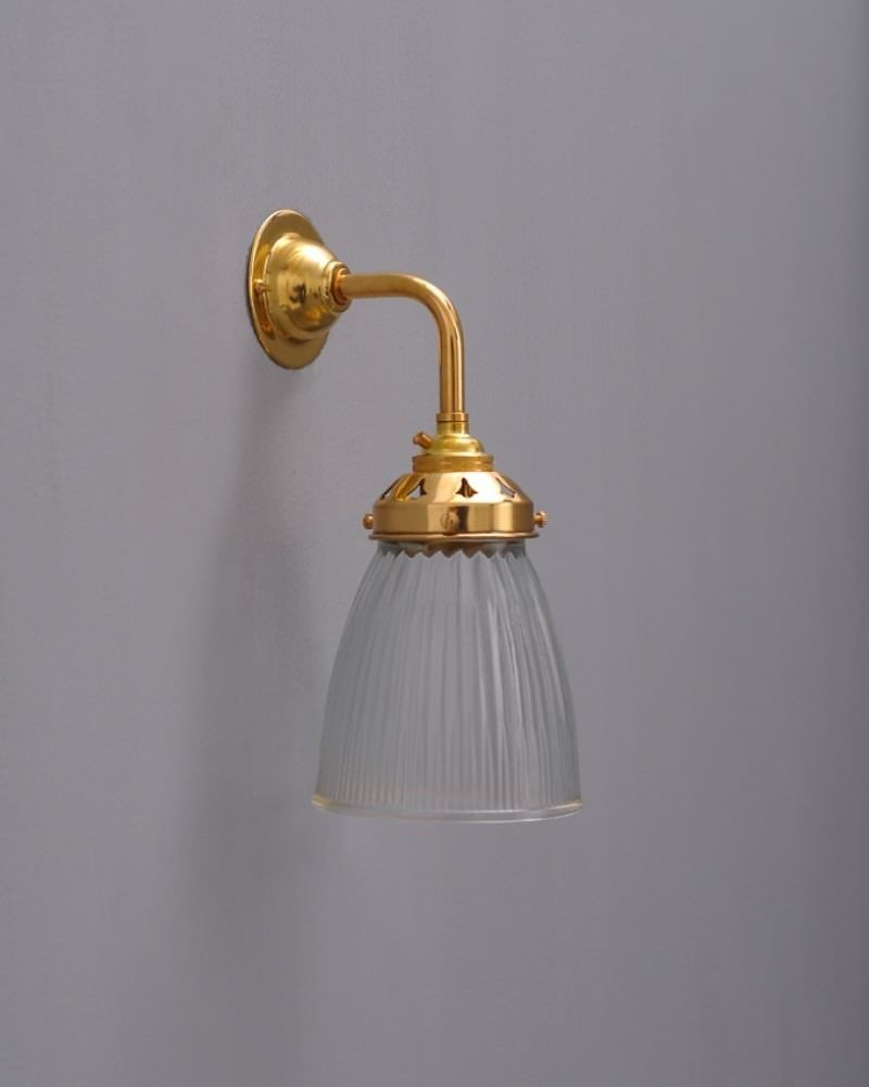 Industrial Wall Light with Peterstow prismatic glass shade Fritz Fryer