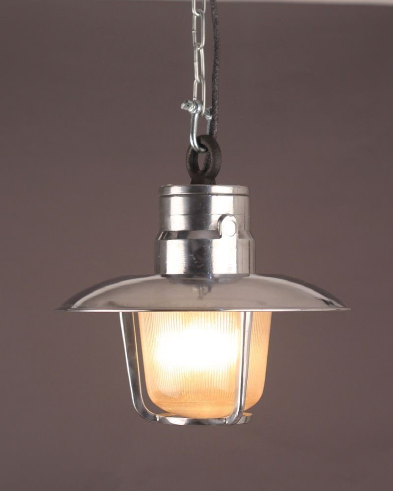 Industrial aluminium well glass pendant light marine ship for Industrial bulb pendant