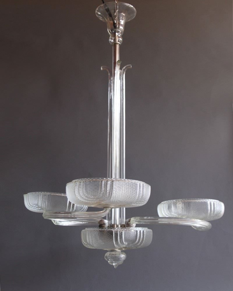 Italian Glass 3 Arm Chandelier From 1960's, Retro Vintage Lighting