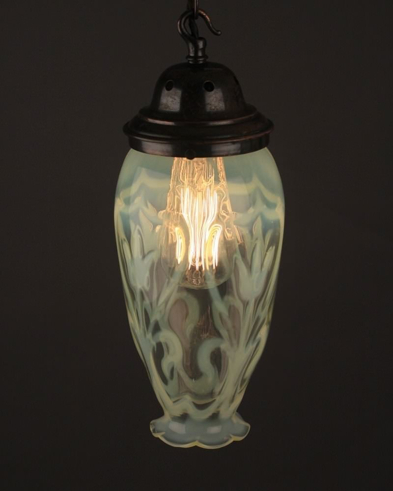 Antique Lighting Large Vaseline Antique Pendant Light