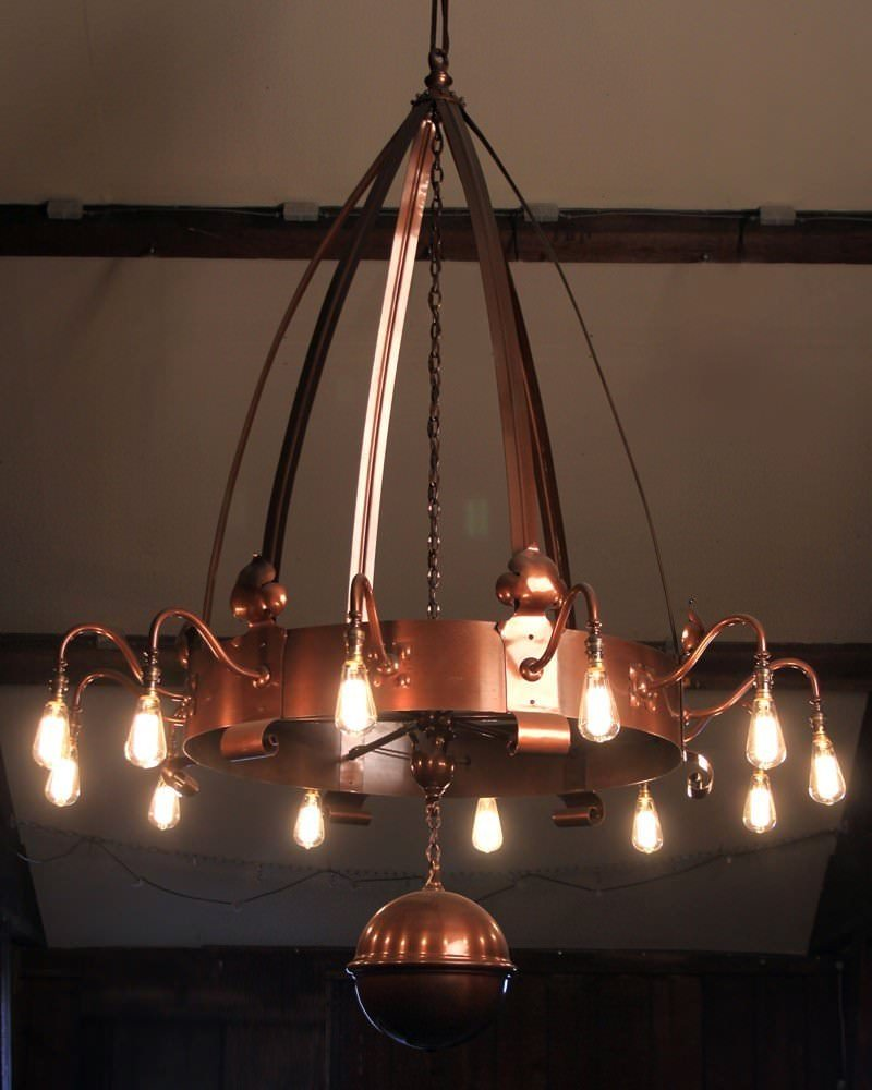 Large arts and crafts 12 branch copper chandelier vinate for Arts and crafts light