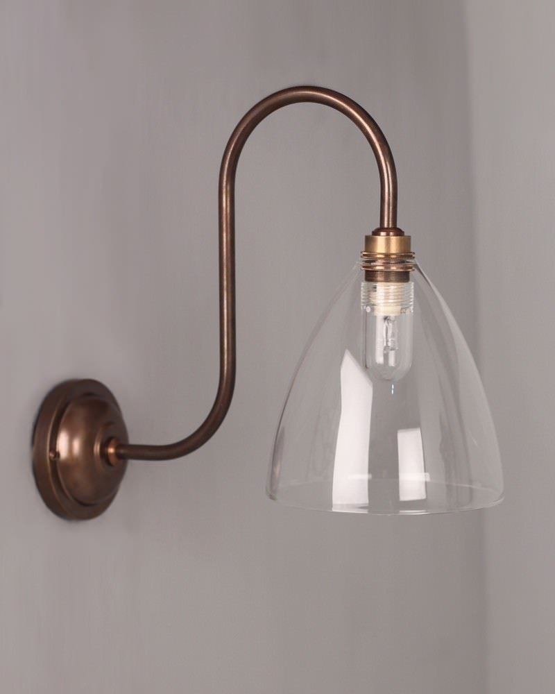 Bathroom Lighting Uk bathroom light, ledbury clear swan neck bathroom light (ip44 rated)