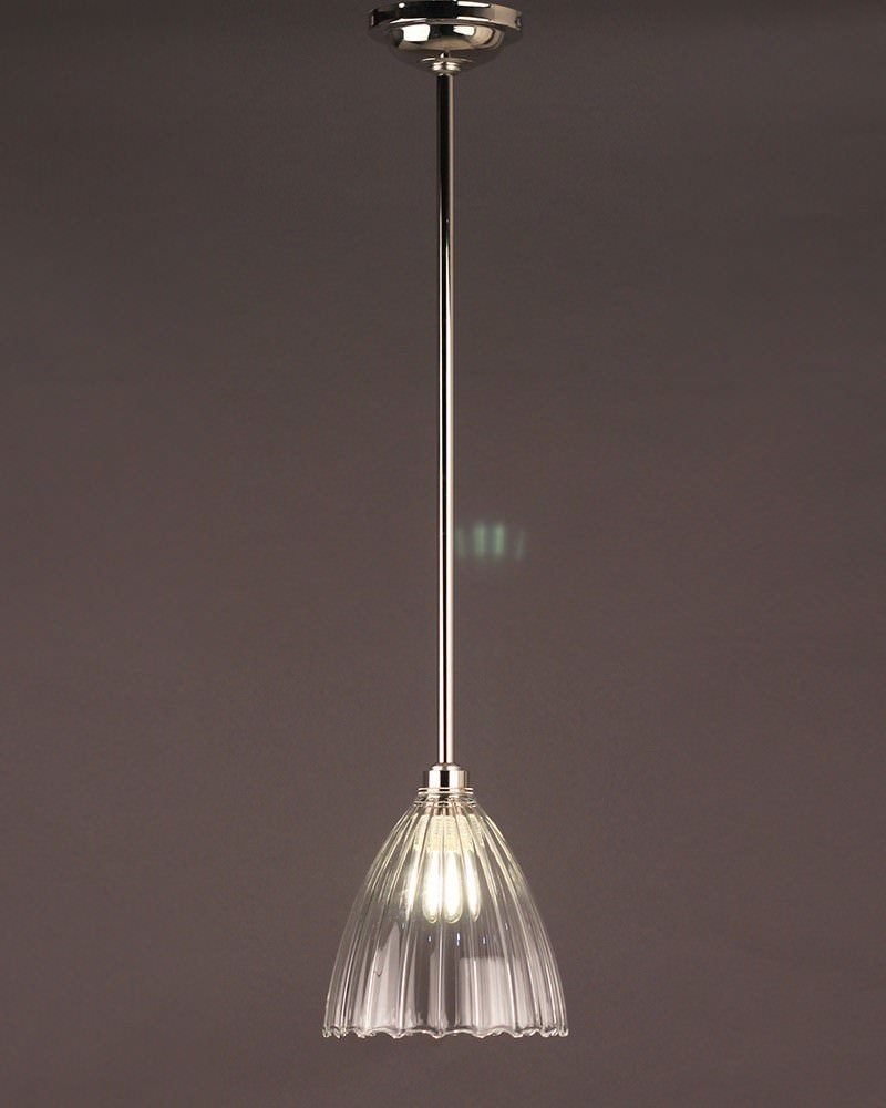 Clear Ribbed Glass Bathroom Pendant Ceiling Light Ledbury Retro Contemporary Design Ip44 Rated