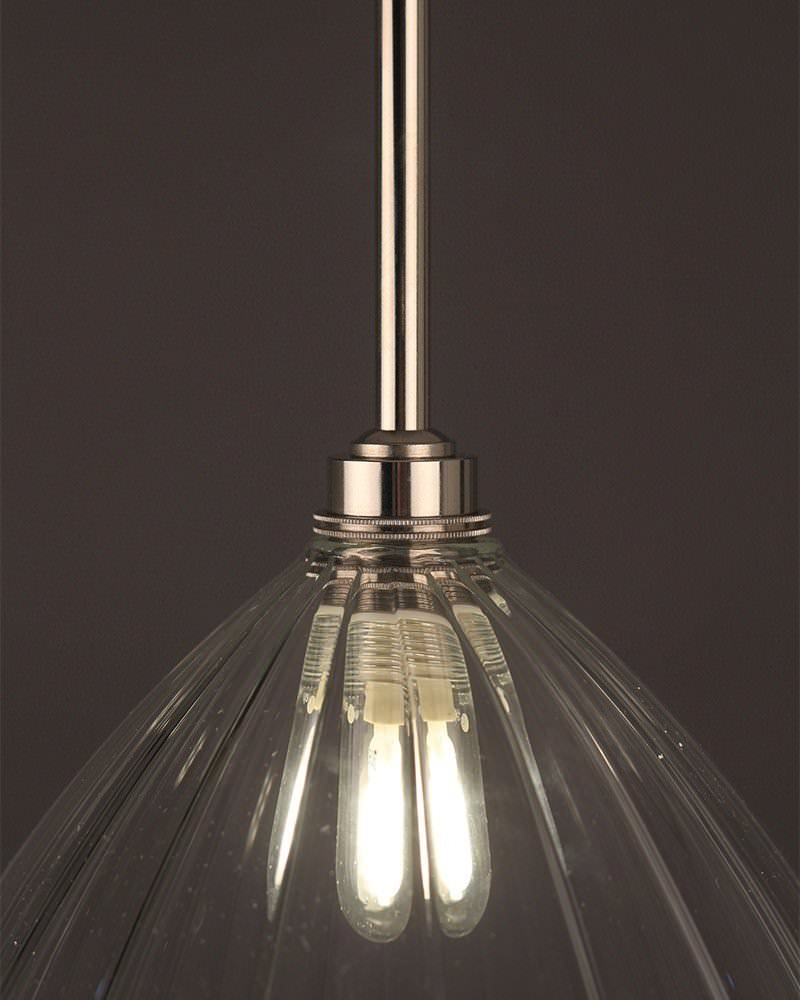 Clear Ribbed Glass Bathroom Pendant Ceiling Light, Ledbury Retro & Contemporary Design (Ip44 Rated)