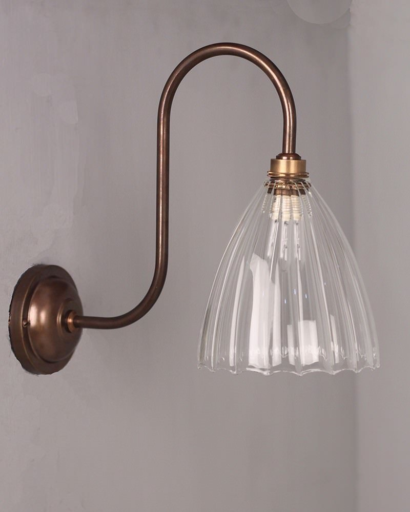 Clear Ribbed Glass Bathroom Wall Light, Swan Neck, Ledbury Retro & Contemporary Design (Ip44 Rated)