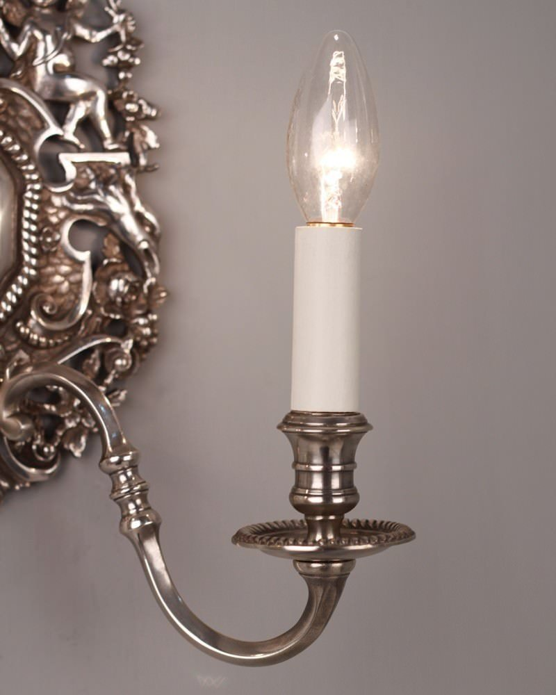 Quality Wall Sconces : Pair of 2 Branch Fine Quality Decorative Silver Plated Wall Sconces Fritz Fryer