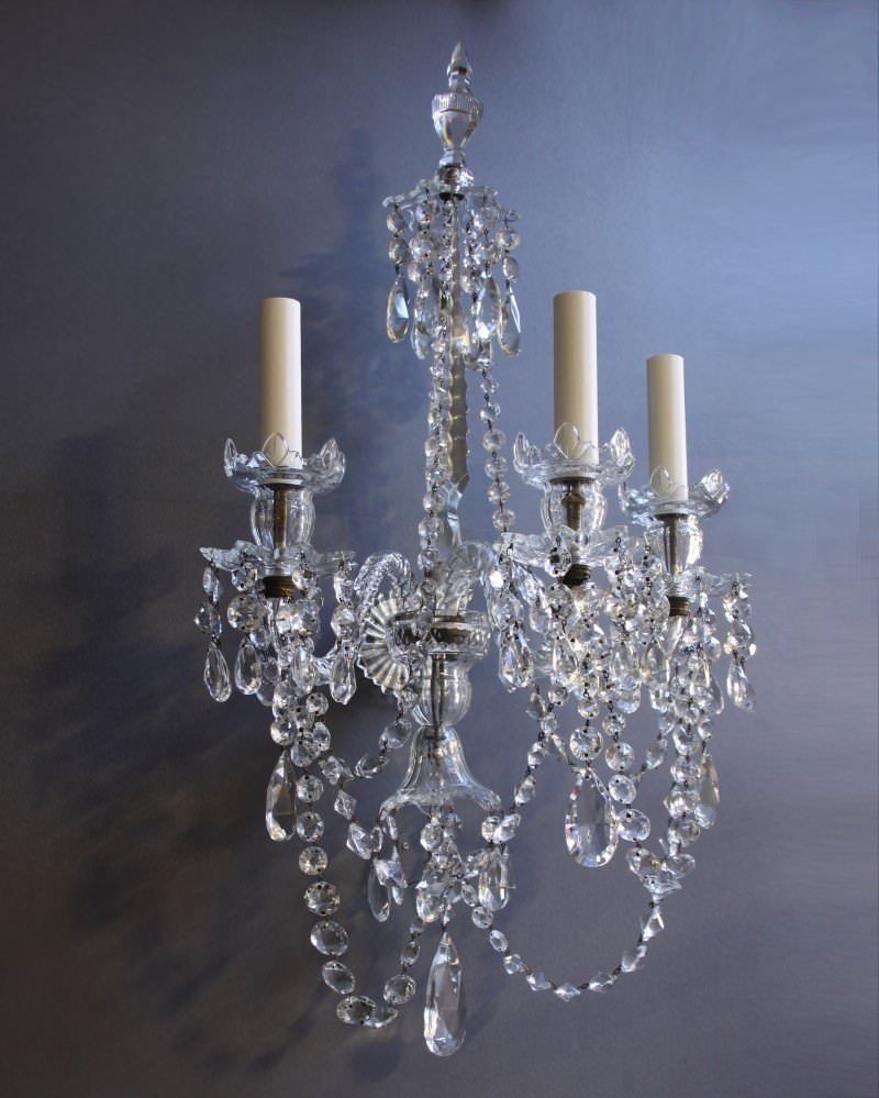 Pair of antique crystal wall sconces Fritz Fryer