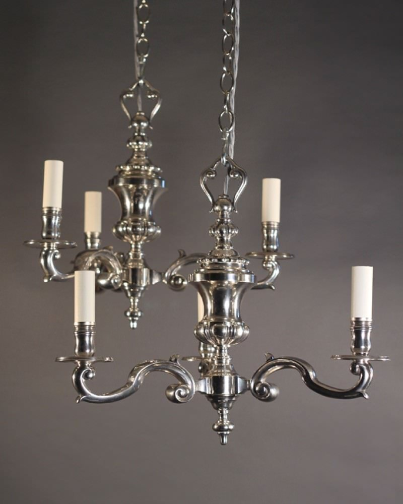 Pair Of Antique Silver Plate Chandeliers Fritz Fryer
