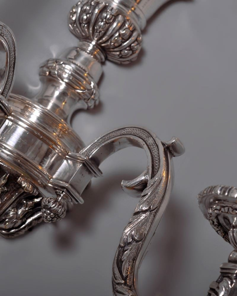 Pair of fine cast substantial silver plate antique wall sconces Fritz Fryer