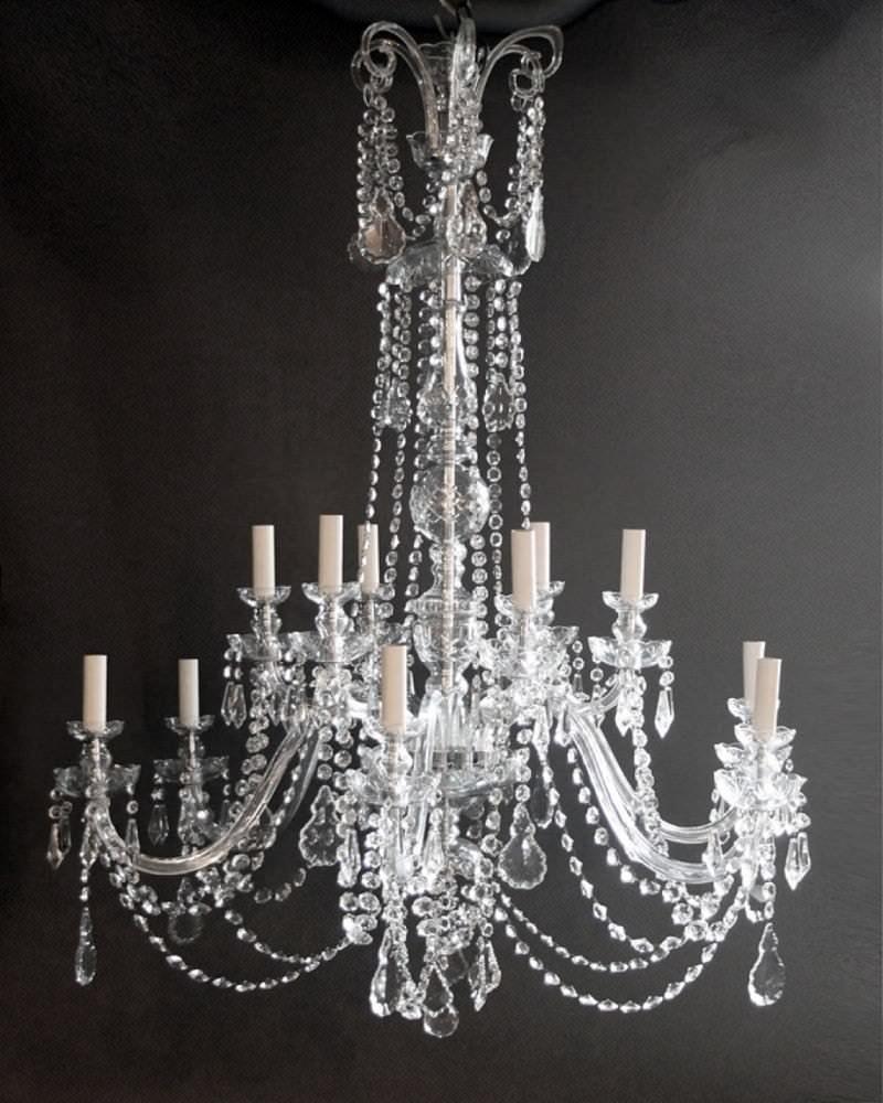 Pair of large crystal chandeliers