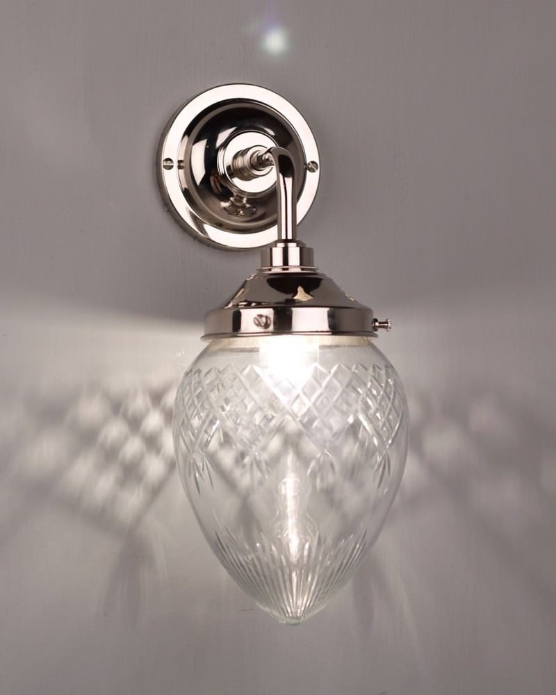 Penyard Cut Glass Contemporary Bathroom Wall Light Fritz Fryer