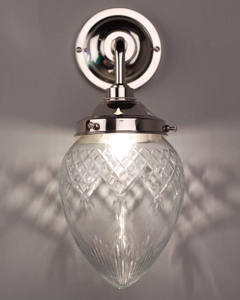 Penyard Cut Glass Contemporary Bathroom Wall Light Fritz