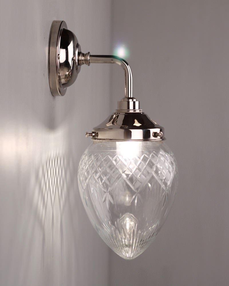 Penyard Clear Cut Glass Bathroom Wall Light Contemporary
