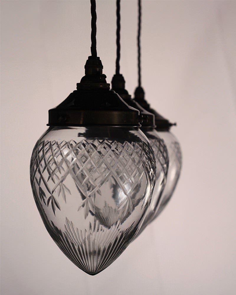 Edwardian Style Cut Glass Pineapple Pendant Ceiling Light
