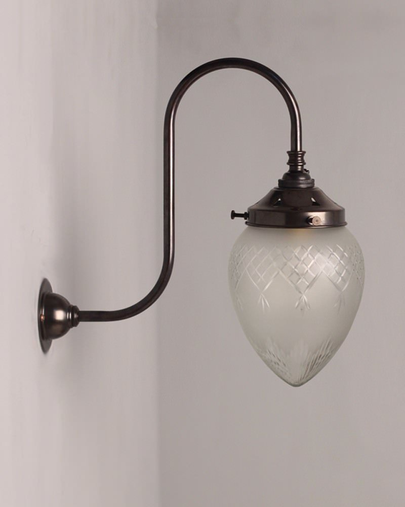 Cut Glass Wall Lights : Penyard Frosted Cut Glass Swan Neck Wall Light Fritz Fryer