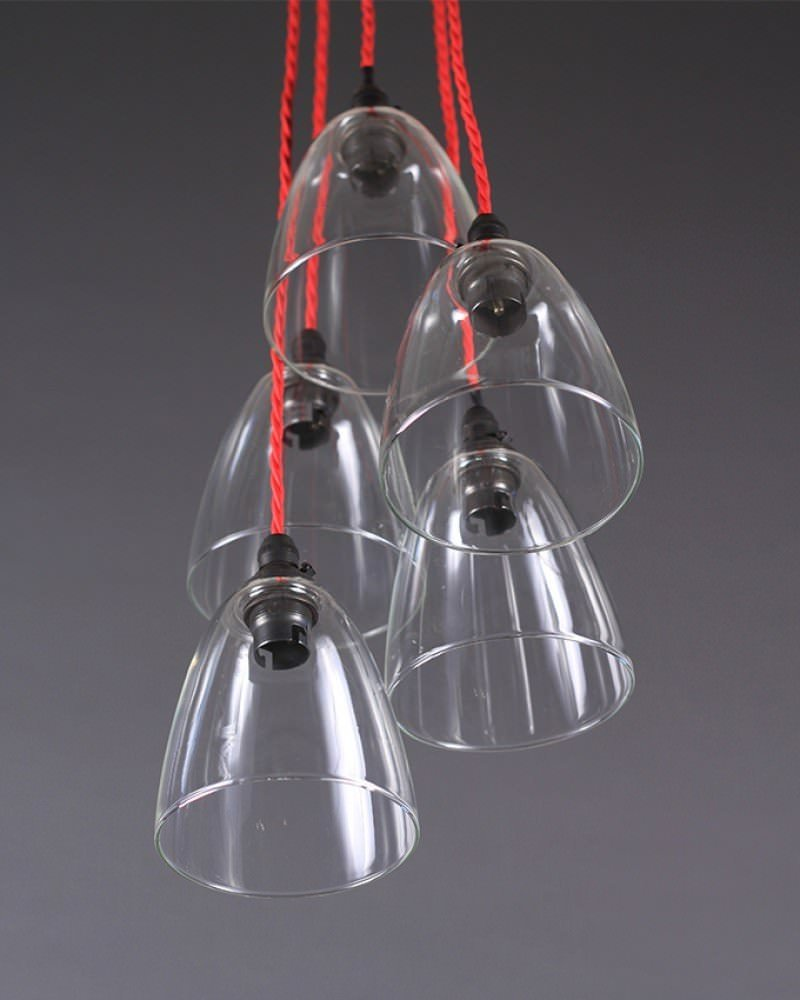 Clear Glass Pendant Ceiling Light Cluster, Pixley Retro & Traditional Industrial Design Lighting