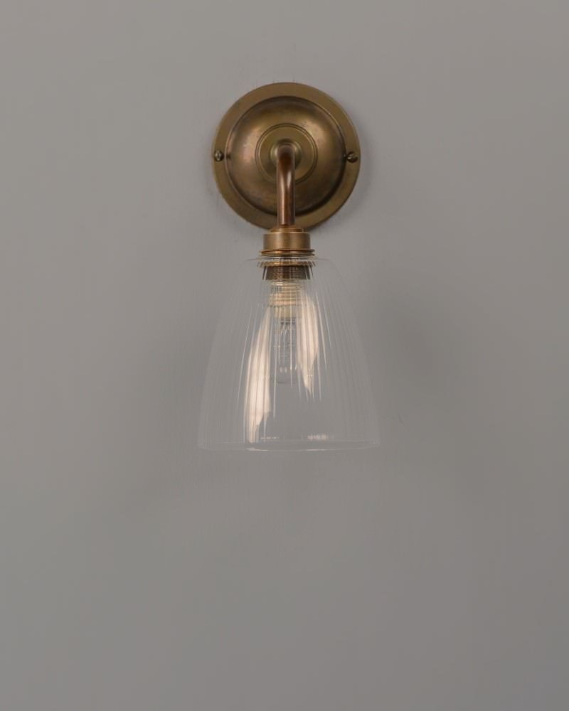 Skinny Ribbed Glass Bathroom Wall Light, Pixley Retro & Traditional Industrial Design Lighting (Ip44 Rated)