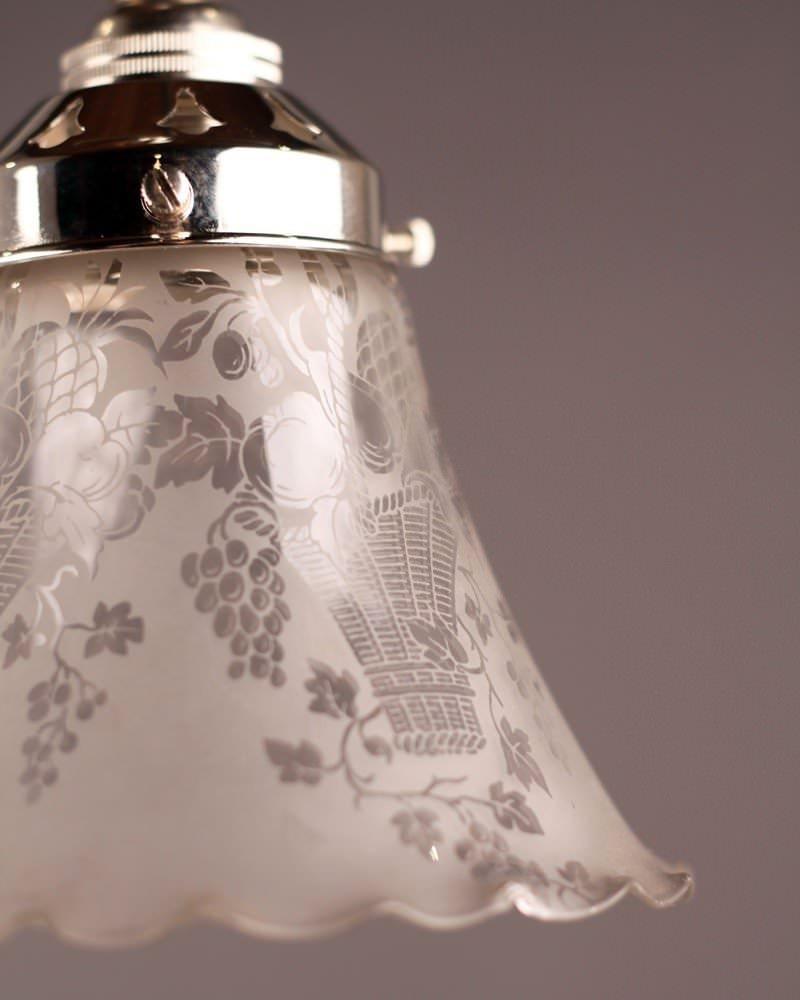 Pretty Edwardian Glass Shade Pendant Light