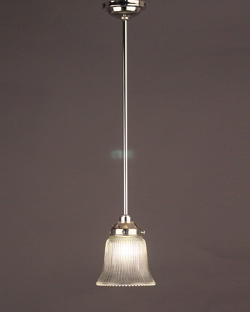 Prismatic Clear Glass Fluted Bell Bathroom Ceiling Light Fritz Fryer