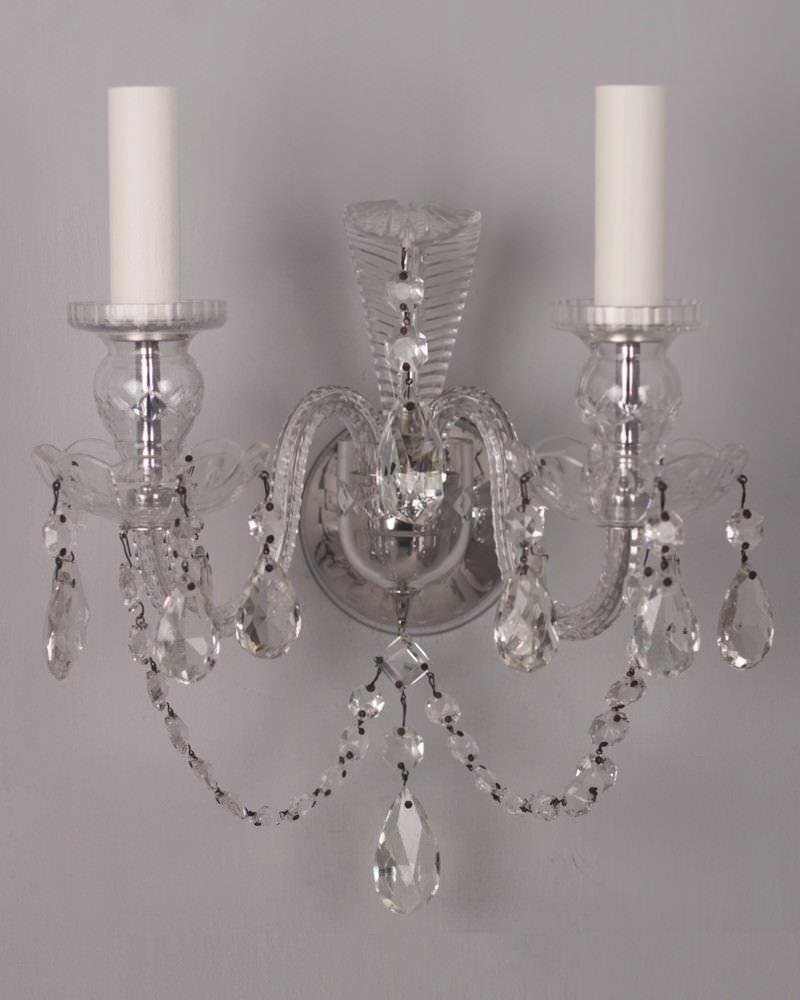 Set Of 5 Fine Quality Antique Crystal Wall Sconces Fritz