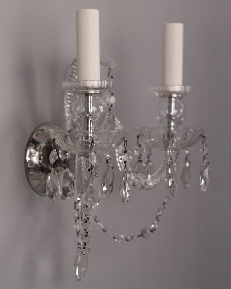 Vintage Crystal Wall Sconces : Set of 5 Fine Quality Antique Crystal Wall Sconces Fritz Fryer