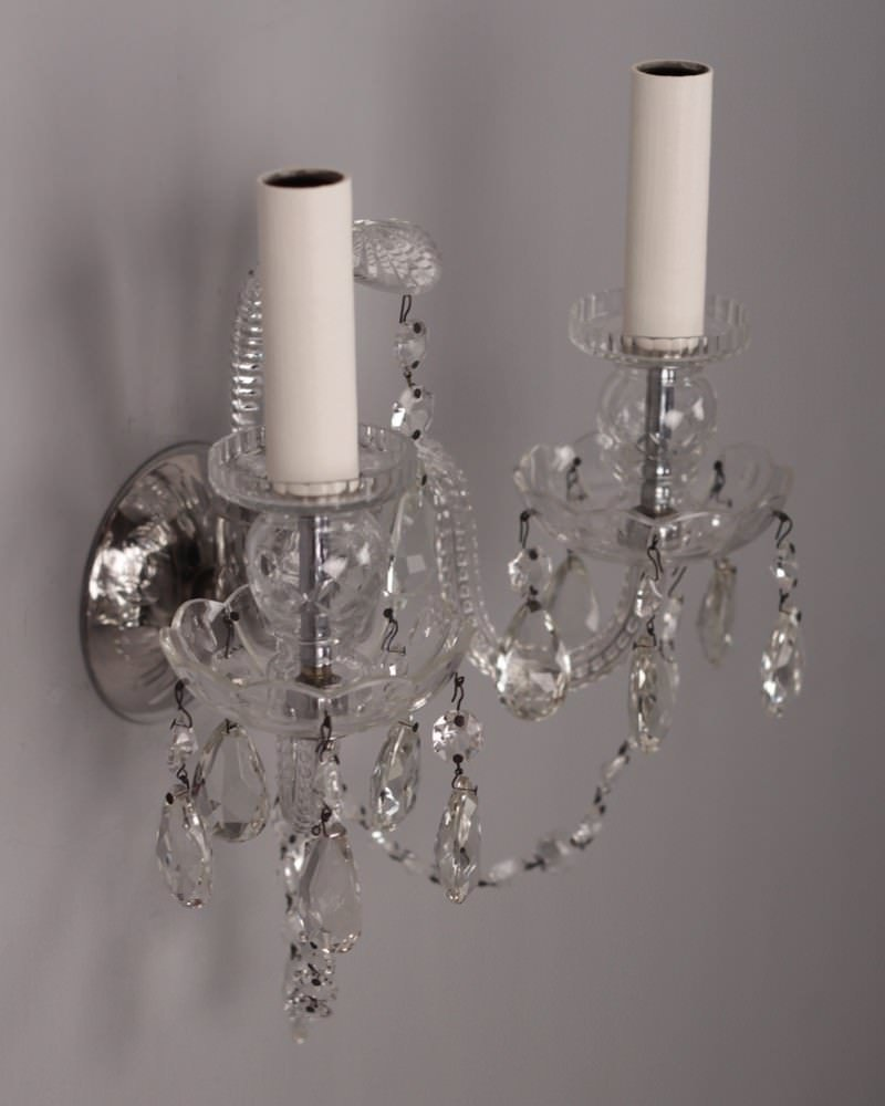 Quality Wall Sconces : Antique Lighting, Set of 5 Fine Quality Antique Crystal Wall Sconces