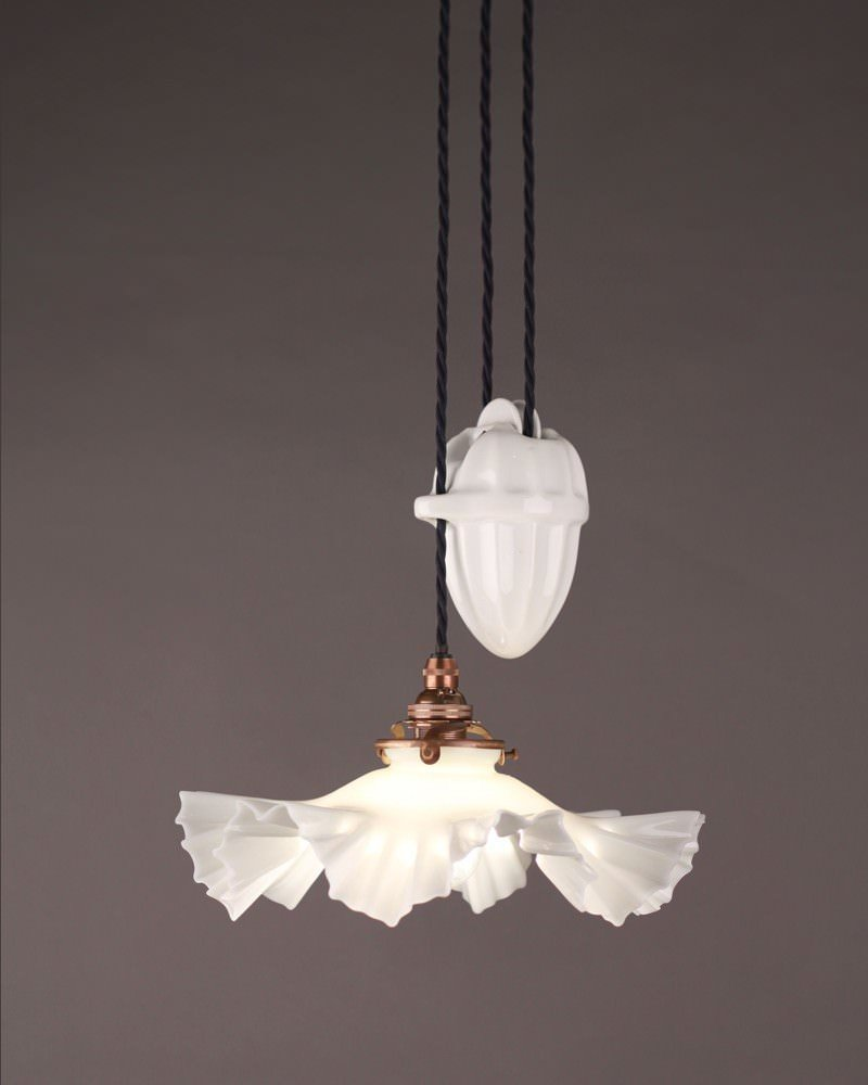 Antique Lighting Single French Ceramic Rise And Fall