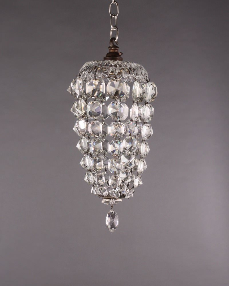 Small Antique Crystal Bag Chandelier