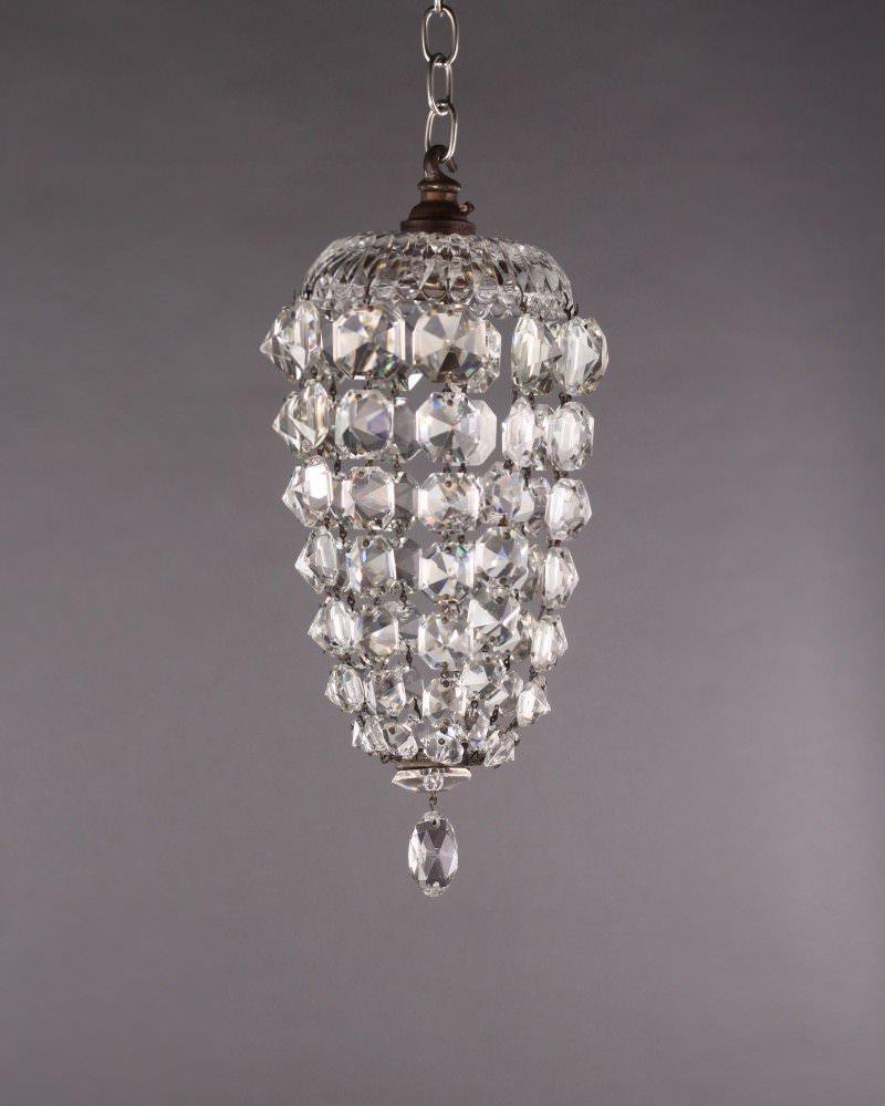 Small Antique Crystal Bag Chandelier Fritz Fryer