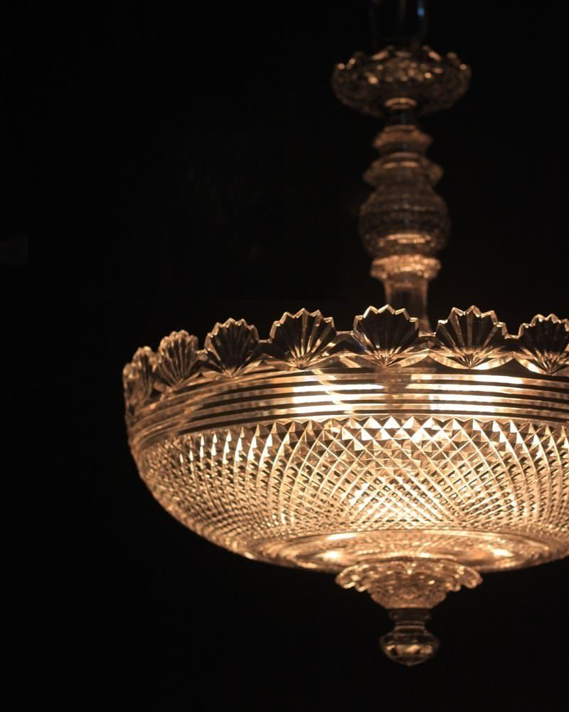 Antique Cut Crystal Plafonnier Chandelier Attributed To Waterford, Antique Lighting