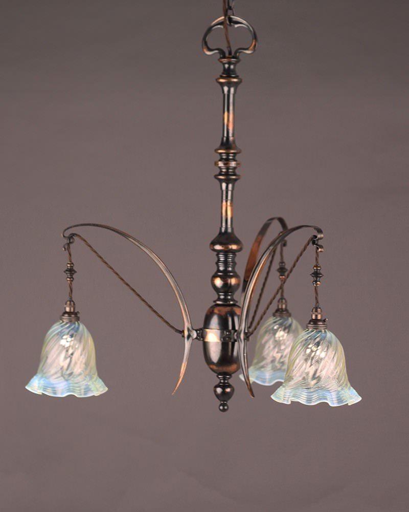 Copper Chandelier Art Nouveau Oxidised Copper Chandelier
