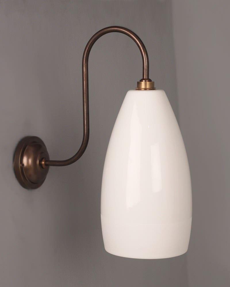 designer bathroom light upton ceramic swan neck bathroom wall light ip44 rated - Designer Bathroom Wall Lights