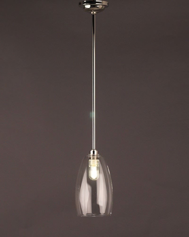 Clear Glass Pendant Ceiling Bathroom Light Upton Retro Contemporary Design Ip44 Rated