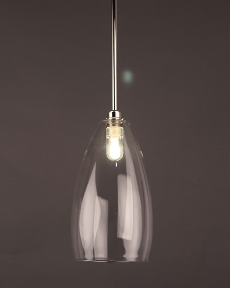 Clear Glass Pendant Ceiling Bathroom Light, Upton Retro & Contemporary Design (Ip44 Rated)
