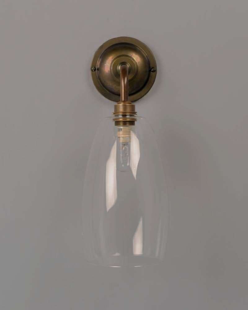 Designer Bathroom Light, Contemporary Bathroom Wall Light With Clear Upton Glass Shade (Ip44 Rated)