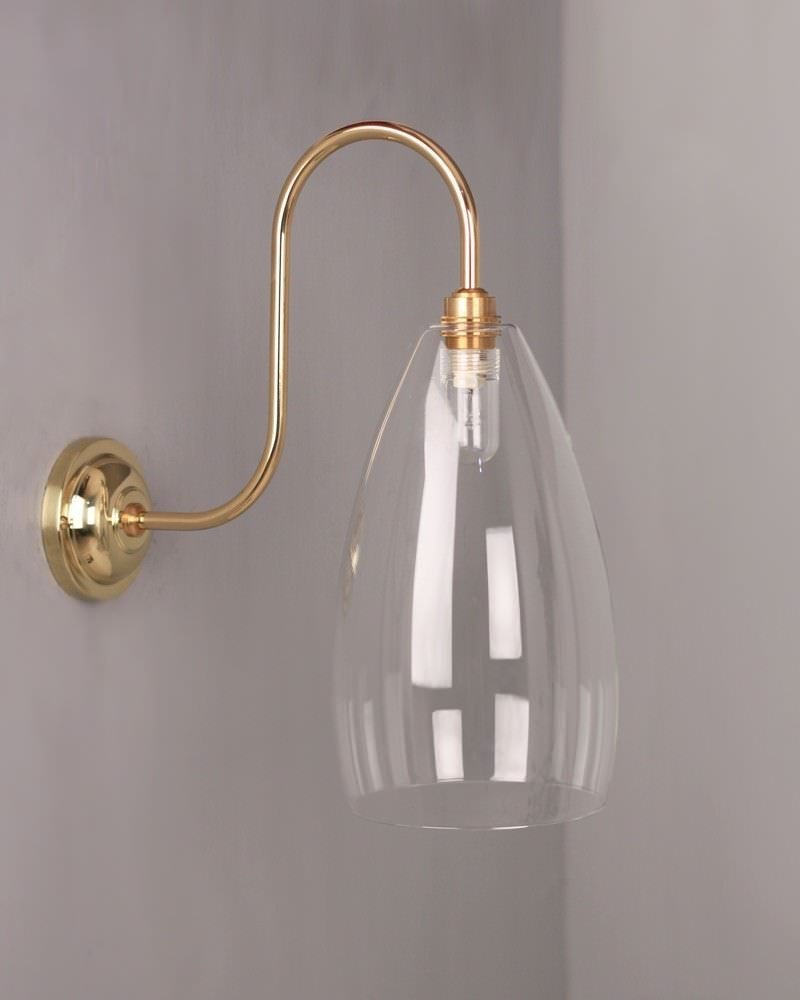 Clear Glass Bathroom Wall Light, Swan Neck, Upton Retro & Contemporary Design (Ip44 Rated)