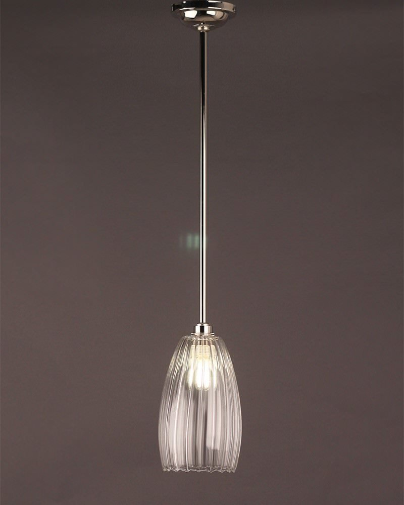 Clear Ribbed Glass Pendant Ceiling Bathroom Light, Upton