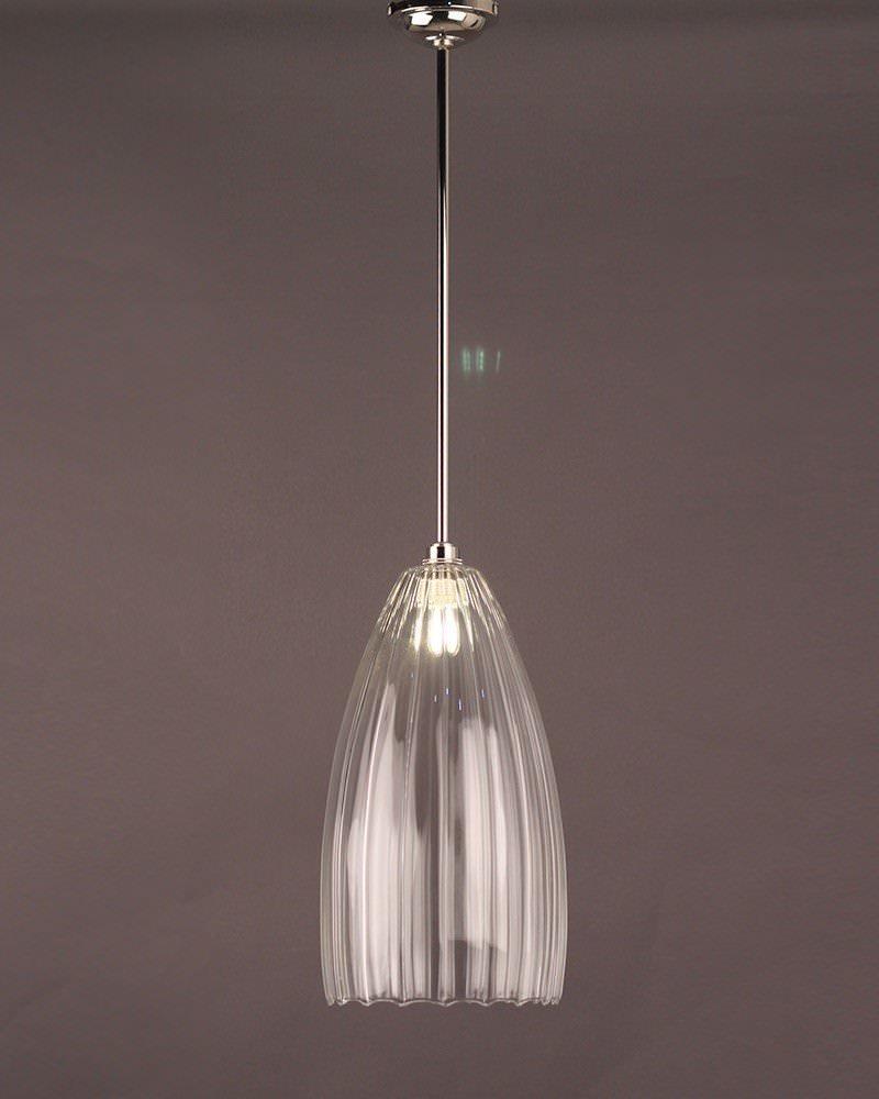 Upton Ribbed Glass Bathroom Ceiling Light Fritz Fryer