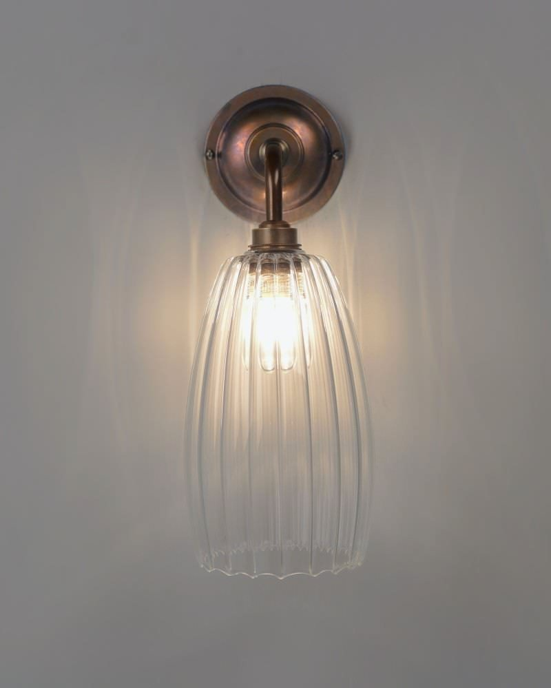Clear ribbed glass bathroom wall light upton retro for Contemporary bathroom wall lights