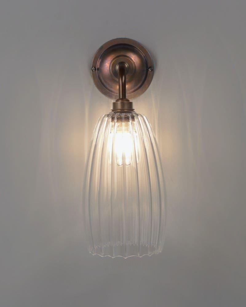 Upton ribbed glass contemporary bathroom light fritz fryer - Contemporary bathroom wall lights ...