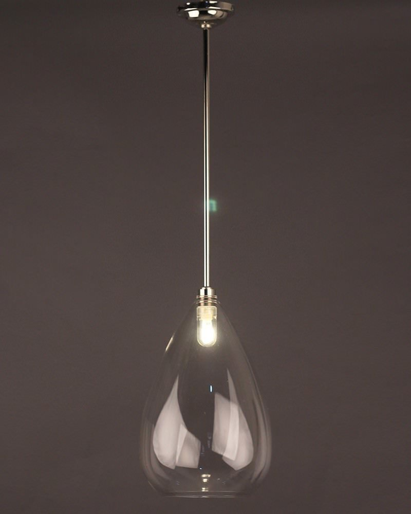 Teardrop clear glass bathroom ceiling light wellington for Modern bathroom pendant lighting