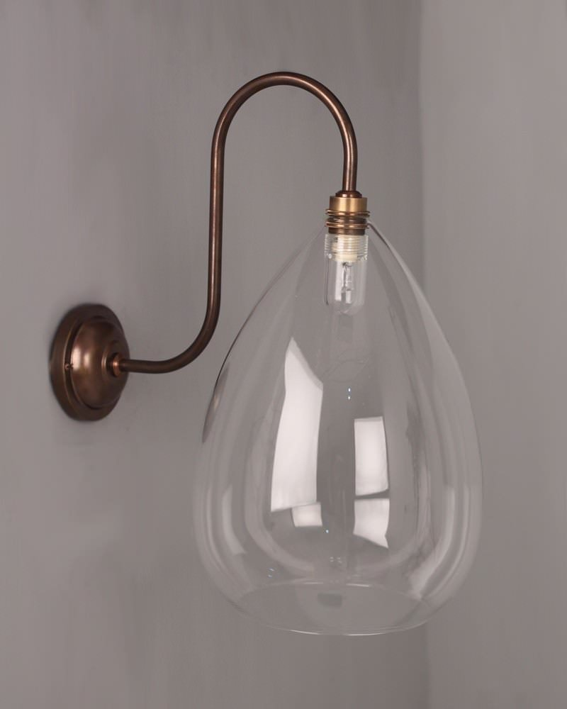 Handmade Glass Wall Lights : Designer Wall Light, Wellington Clear Glass Shade Swan Neck Bathroom Wall Light (IP44 Rated)