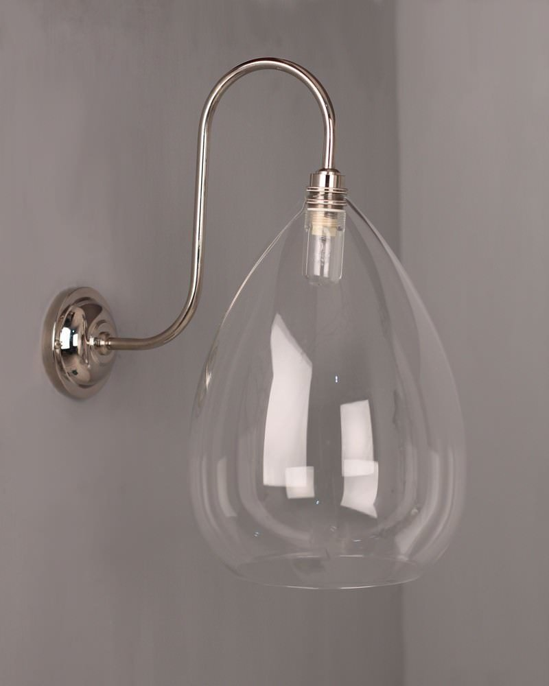 Teardrop Clear Glass Swan Neck Bathroom Wall Light, Wellington Contemporary Lighting (Ip44 Rated)